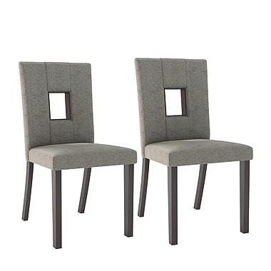 CorLivingMC – Chaises de salle à manger Bistro DIP-421-C en tissu sable gris, ens. 2
