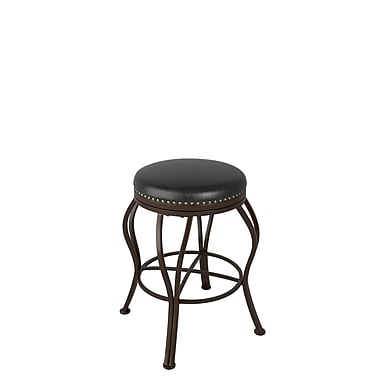 CorLiving™ DJS-124-B Jericho Metal Counter Height Barstool, Dark Brown Bonded Leather Seat