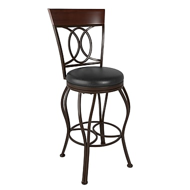 CorLiving™ DJS-223-B Jericho Metal Bar Height Barstool, Dark Brown Bonded Leather Seat