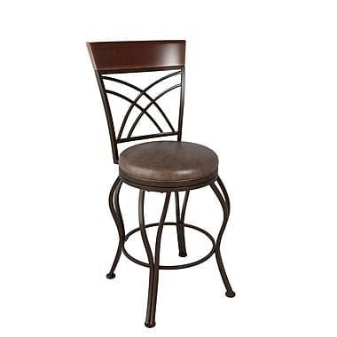 CorLiving™ DJS-324-B Jericho Metal Counter Height Barstool, Rustic Brown Bonded Leather Seat