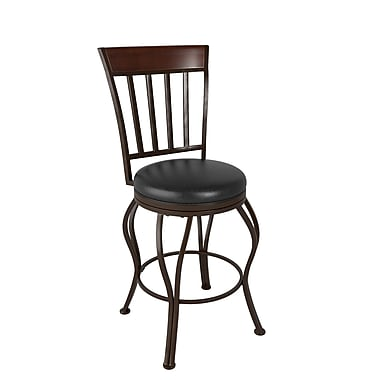 CorLiving™ DJS-424-B Jericho Metal Counter Height Barstool, Glossy Dark Brown Bonded Leather Seat