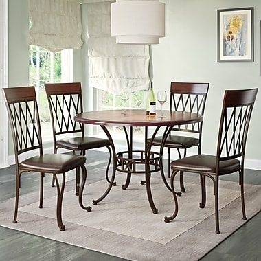 CorLiving™ DJS-479-Z Jericho 5-Piece Metal and Warm Stained Wood Dining Set