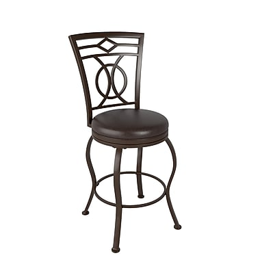 CorLiving™ DJS-824-B Jericho Metal Counter Height Barstool, Dark Brown Bonded Leather Seat