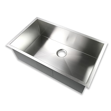 Luxier 32'' x 19'' Undermount Single Bowl 16 Gauge Stainless Steel Handmade Zero Radius Kitchen Sink