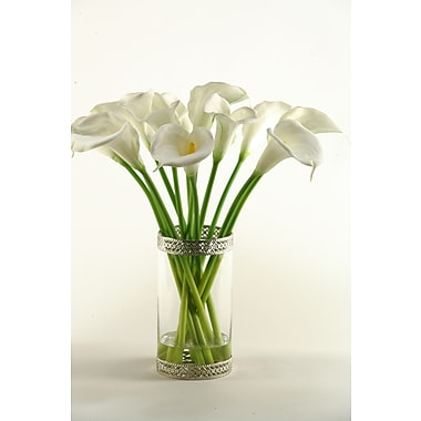 D & W Silks Calla Lilies in Glass Cylinder Vase