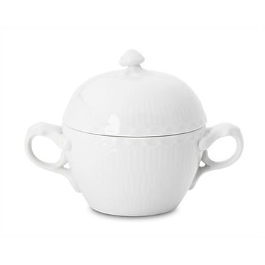 Royal Copenhagen White Half Lace 6.75 oz. Sugar Bowl w/ Lid