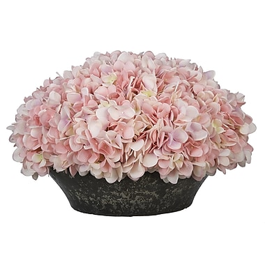 House of Silk Flowers Hydrangea Centerpiece in Bowl; Baby Pink