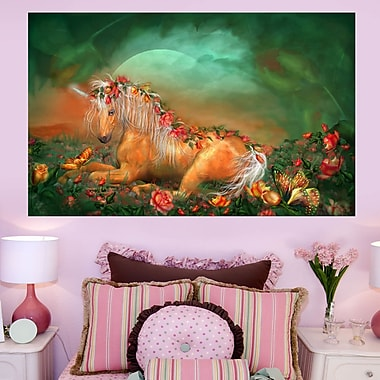 Wallhogs Cavalaris Unicorn of The Roses Wall Mural; 44.5'' H x 72'' W