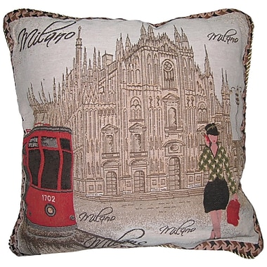 DaDa Bedding Postcard of Milan Woven Pillow Cover (Set of 2)