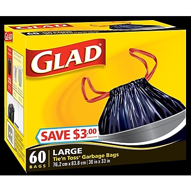 Glad® Tie'n Toss® Garbage Bags, Large, 4/Packs of 60 (CL70185)