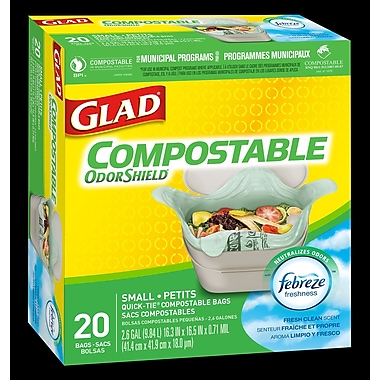 Glad® OdourShield Compostable Bags, Small, Lemon Scent, 12/Packs of 20 (CL78162)