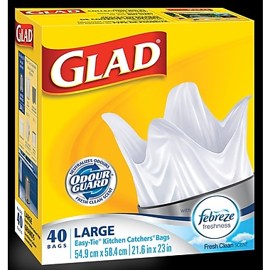 Glad Garbage Bags Kitchen Catcher Size Large, 40/Pack, 12 Packs/Case