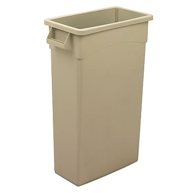 Beige 23 Gal Wall Hugger Container With Handles 19.75