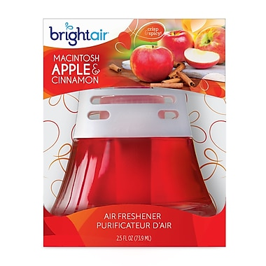 Bright Air Scented Oil Air Freshener non-electric Macintosh Apple & Cinnamon, 6 Packs/Case