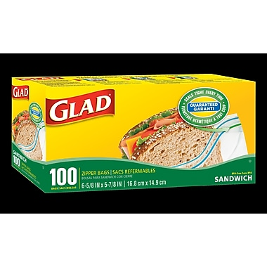 Glad® Zipper Sandwich Bags, 12/Packs of 100 (CL12623)
