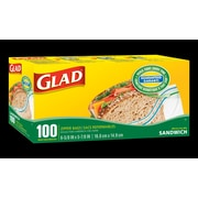 Glad® Zipper Sandwich Bags, 12/Packs of 100 (CL12623)