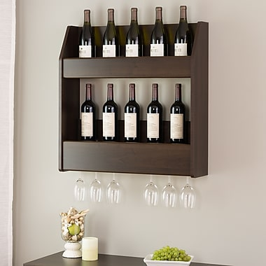 Prepac™ 2-Tier Floating Wine and Liquor Rack, Espresso