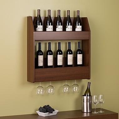 Prepac™ – Support mural à 2 niveaux pour bouteilles de vin et d'alcool, cerisier chaleureux