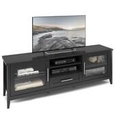CorLivingMC – Meuble pour téléviseur extra large Jackson TJK-604-B, pour téléviseurs jusqu'à 80 po, grain de bois noir