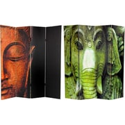 Oriental Furniture 72'' x 48'' Double Sided Buddha / Ganesh 4 Panel Room Divider