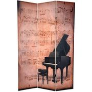 Oriental Furniture 70.88'' x 47'' Double Sided Piano / Phonograph Music 3 Panel Room Divider
