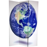 Oriental Furniture 72'' x 48'' Double Sided Earth 3 Panel Room Divider