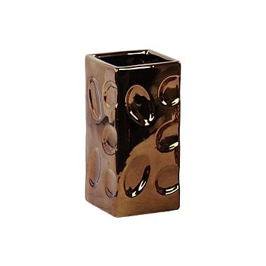 Urban Trends Ceramic Square Vase; Copper