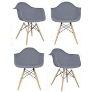 eModern Decor Mid Century Modern Scandinavian Arm Chair (Set of 4); Dark Gray