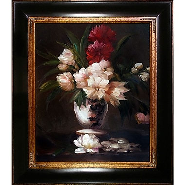 Tori Home Peonies in a Vase by Edouard Manet Framed Painting Print on Wrapped Canvas