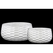 Urban Trends 2-Piece Ceramic Pot Planter Set; White