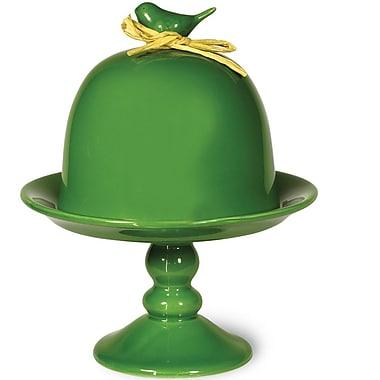 Boston International Emerald Bird Cloche Cake Stand
