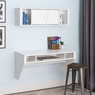 Prepac™ Designer Floating Desk & Hutch Set, White