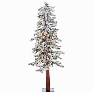 Vickerman 4' Flocked Alpine White Artificial Christmas Tree w/ 100 Clear Lights