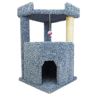 New Cat Condos 34'' Premier Corner Roost Cat Tree; Blue