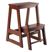 Winsome Beech Wood Double Step Stool, Antique Walnut