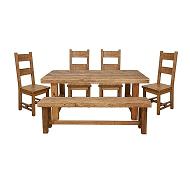 JR Home Collection IF-DS210 Country Cottage Collection Dining Set with Table 4 Chairs and Bench