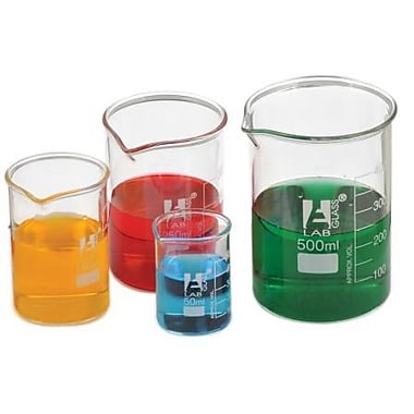 Eisco Low Form Beaker, Borosilicate Glass, 150mL, 12/Pack