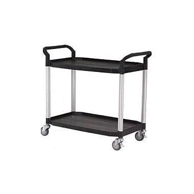 Modulab® Two Shelf Laboratory Cart, Large 1100 x 520 x 950mm (L x W x H), Black and Silver