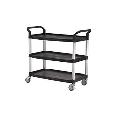Modulab® Three Shelf Laboratory Cart, Large 1100 x 520 x 1020mm (L x W x H), Black and Silver