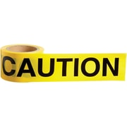 "Barricade Tape Caution, 3.5mil x 3"" x 200', Black/Yellow, 6/Pack"