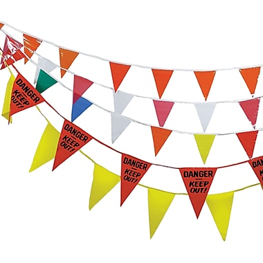 Pennants, NG127, Message - Red w/Danger Keep Out, 12/Pack
