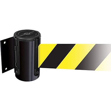 Tensabarrier® Wall Mounted Units, SEI734, Tape Colour - Black w/Yellow Diagonal Stripes