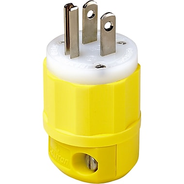 Corrosion Resistant Devices, XA848, Straight Blade Plug, Yellow Nylon Body and Cord Clamp, 3/Pack