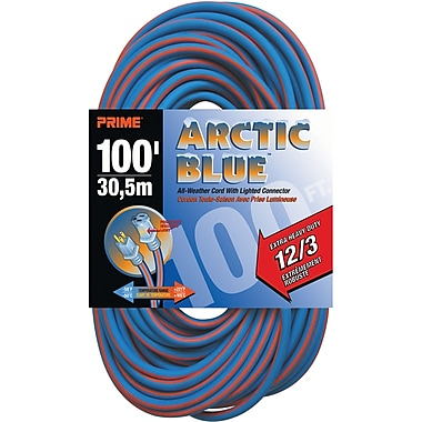 All-Weather Extension Cord - Arctic Blue™, XB899, 3-CONDUCTOR SJEOW, 300 V GROUNDING - EXTRA HEAVY-DUTY