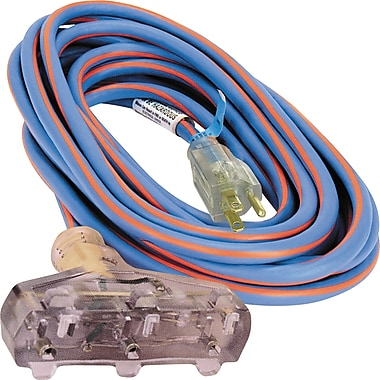 All-Weather Triple Tap Extension Cord - Arctic Blue™, XB903, 3-CONDUCTOR SJEOW, 300 V GROUNDING - EXTRA HEAVY-DUTY