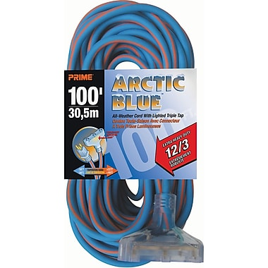 All-Weather Triple Tap Extension Cord - Arctic Blue™, XB904, 3-CONDUCTOR SJEOW, 300 V GROUNDING - EXTRA HEAVY-DUTY