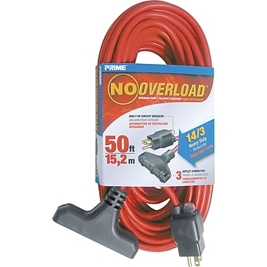 Outdoor Vinyl Triple Tap Extension Cord, XA720, 3-CONDUCTOR SJTW, 300 V GROUNDING, Heavy-Duty