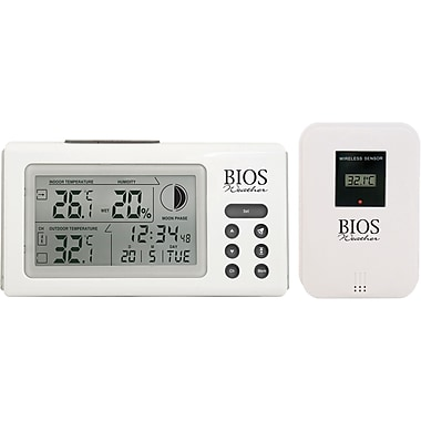 Indoor/Outdoor Thermometers w/Clock, IA807, 12/Pack