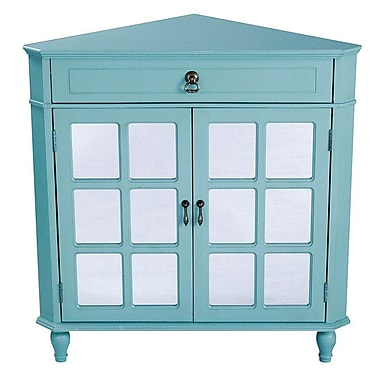 Heather Ann 1 Drawer 2 Door Acccent Cabinet; Turquoise