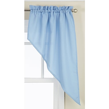 Sweet Home Collection Opaque Ribcord Swag 27'' Curtain Valance (Set of 2); Navy